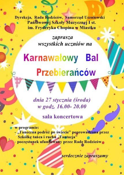 Zaproszenie Na Bal Państwowa Szkoła Muzyczna I St Im Fryderyka